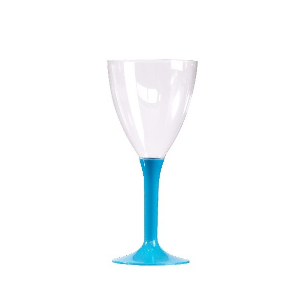 10 verres plastique 224 pied couleur turquoise cocebal
