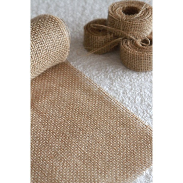 Chemin de table toile de jute 36cm x 5m cocebal - Chemin de table toile de jute dentelle ...
